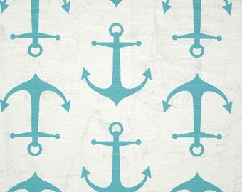 ON SALE - 10% Off Premier Prints Anchors Coastal Blue Slub Home Decorating Fabric BTY