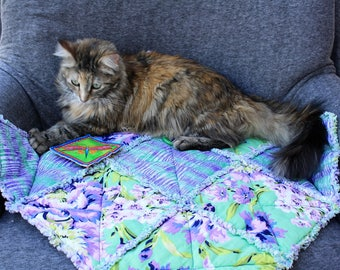 Cat Bed, Bed Blanket, Pet Sofa Cover, Furniture Cover, Coverlet, Pet Bedding, Luxury Pet Blanket, Pet Quilt, Purple Pet Bed, Floral Cat Bed