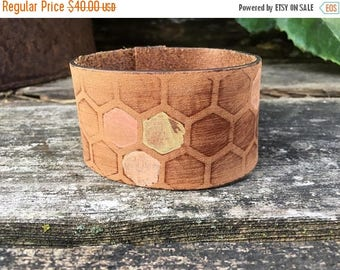 40% OFF- Embossed Leather Cuff-Create Your Own-Hand Painted Honeycomb-Word Cuff