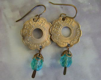Life Cycles - Vintage Brass Swedish Transit Bicycle Tokens, Turquoise Rosary Beads Recycled Repurposed Jewelry Earrings