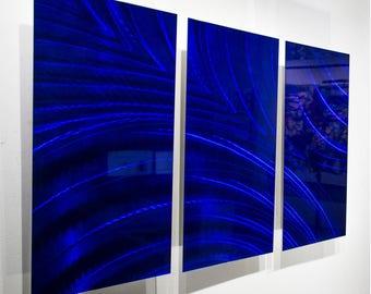 Blue Modern Metal Wall Art, Abstract Wall Painting, Contemporary Home & Office Decor, 3D Metallic Wall Sculpture - OOAK 831 by Jon Allen