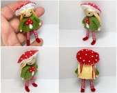 Toadstool Bendy Doll- Mushroom Girl, Waldorf Felt Doll- Woodland- Nature Table Doll- Small Miniature Doll- Felt Bendable Doll