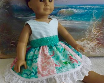 18 Inch Doll Dress Coral Queen of the Sea Underwater Medley OOAK made with Moda Designer Fabric With Teal Accents