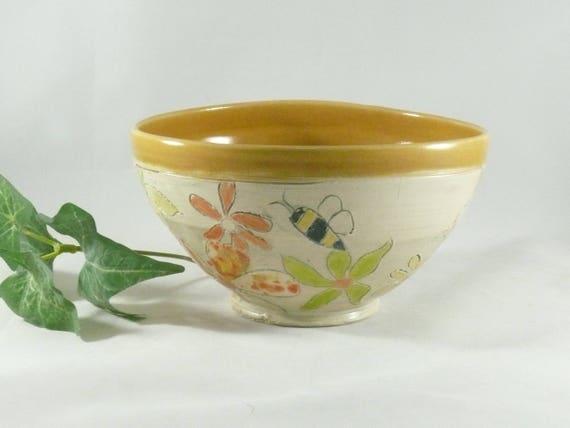 Ceramic Soup Bowl, Pottery Salad Bowl, Kitchen Dinnerware, Key Bowl,  Save the Bees, Handmade Bowl, Cereal Bowl, Serving Bowl 858