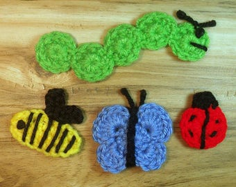 Insect Crochet Pattern Bundle, Ladybug Pattern, Caterpillar Pattern,Butterfly Pattern, Bumblebee Pattern, Easy Crochet Pattern