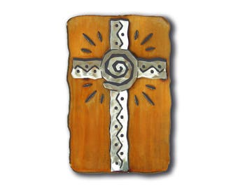 Spiral Cross Cut Out Southwest Wall Art - Brown Rust and silver Finish