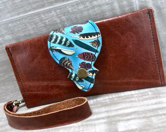Leather Long Wallet fits Passport/ Phone with Wrist Strap & Zipper Pocket Chestnut / Feathers Print on Genuine Leather