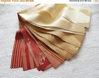 CLEARANCE - 24 pieces cream red beige brown red silky patterned fabric pieces, each 4.75 x 9 inches
