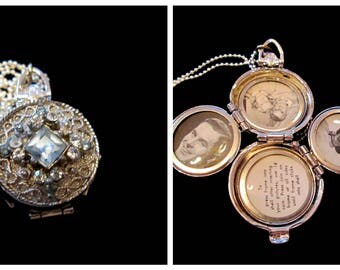 Vintage Coro 4 Picture Locket - Light Blue Topaz