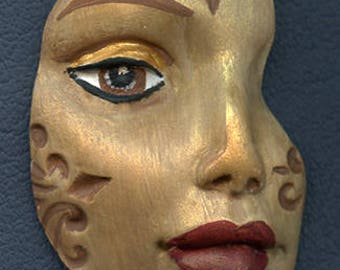 Polymer Clay Tan and Gold  textured Abstract Face Shard  TGS 1
