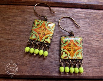 Yellow Earrings, Mexican Tile Earrings, Square Earrings, Boho Earrings, Dangle drop earrings, Bright Jewelry, Mexican, Day of the Dead