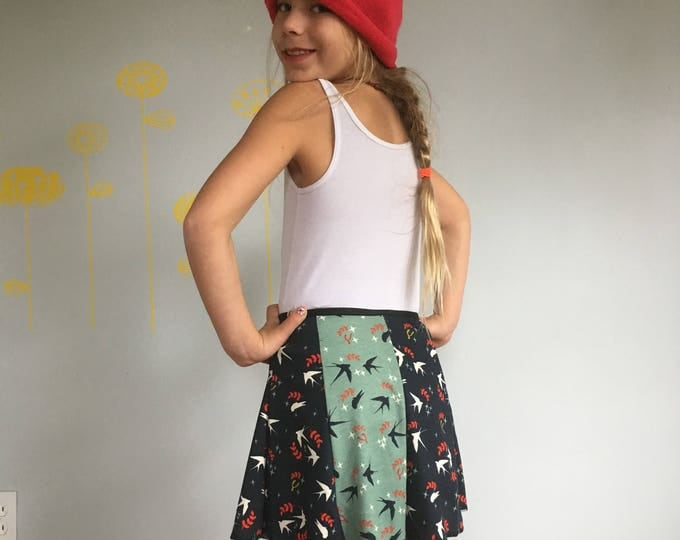 Child Skirt, Snap Around Adjustable Skirt, Erin MacLeod, bird skirt, organic