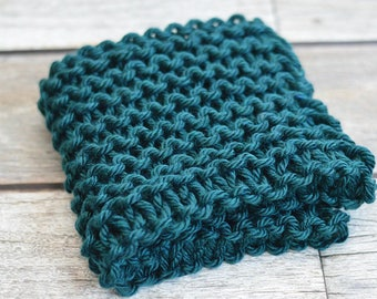 Peacock Teal - Mini Prop Blanket - teal knit newborn photography prop basket bucket bowl filler stuffer