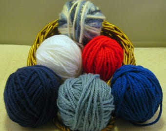 Yarn Destash, Yarn Remnants, Yarn for Small Projects, Yarn Balls, Yarn Leftovers, Total 150 Yards