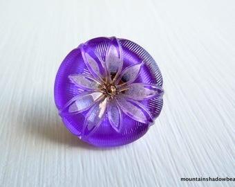 Purple Glass Button - 18mm  Czech Glass Button - Hand Painted Button Purple/Gold Floral