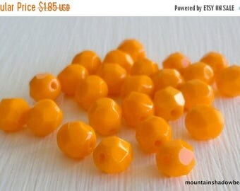 25% OFF Sale 6mm Czech Glass Beads Firepolished Faceted Round Beads - Opaque Sunflower Yellow (G - 288)