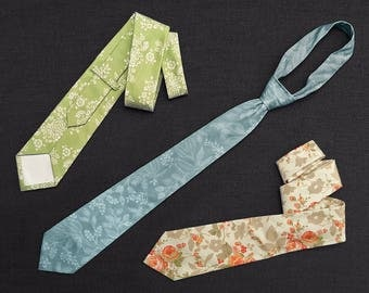 Men's matching neckties - Standard or Skinny - bridal party - cotton print