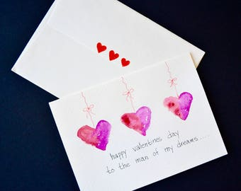 Valentines Day Original Watercolor,  Funny Note Card with  Envelope-  Free Shipping!
