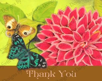 Thank you notes Dahlia with spring green leaves in the background with Butterflies in repose.