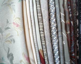 Gray Silk Kimono Fabric Scrap Grab Bag, Vintage Asian Textile Most Silk Remnants, Handmade Fabric Supply for Crazy Quilt