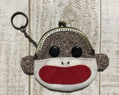 RESERVED Sock Monkey Frame Purse Keychain