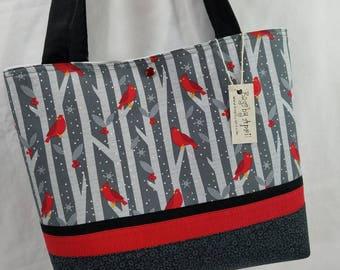 Red Cardinals purse tote bag handbag Christmas Holiday Winter