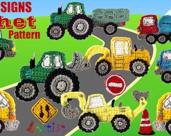 Vehicles + Signs crochet Applique Pattern