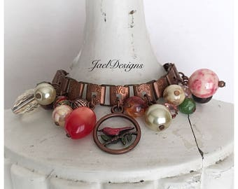 Vintage Copper Book Chain Beaded Charm Bracelet - Red Bird - Pinks, Cream, Green, Pearls - One of a Kind