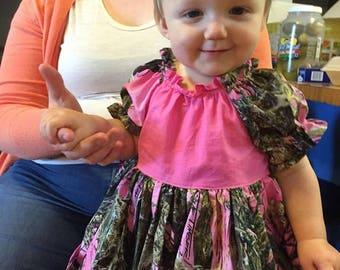 Girls Dresses, Pink Camo Dress,  Peasant Dresses, Baby Toddler Big Girls Dress, Girls dress, Girls Boutique Dress, Handmade, USA Made, #229