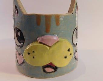 Cat pencil cup or trinket holder