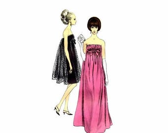 SALE 1960s Strapless Evening Dress Pattern Vogue 6943 Special Design Vintage Sewing Pattern Size 14 Bust 34