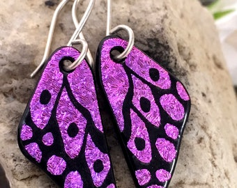 SMALL Butterfly Earrings Hand Etched Dichroic Glass Pink & Sterling Silver