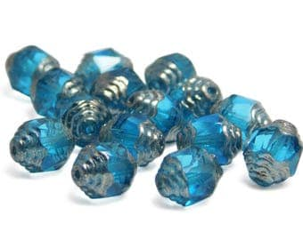 Cathedral Beads - Fire Polished Beads - Czech Glass Beads - Zircon Blue - Blue Beads - Faceted Beads - 15pcs (4487)