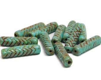 Czech Picasso Beads - Czech Glass Beads - Tube Beads - Czech Tube - Czech Beads - 18x4 - Turquoise Picasso - 11pcs (1901)