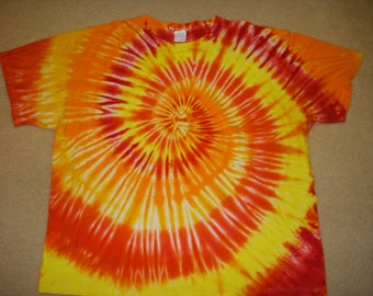 4X tie dye tshirt bright yellow orange, XXXXL