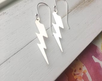 Sterling Silver Lightning Dangle Earrings Lightweight Fun Earrings Gift