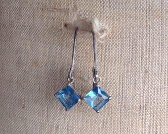 Vintage Emerald cut Blue Stone earrings Sterling Silver Leverbacks, Vintage Sterling Leverback Earrings