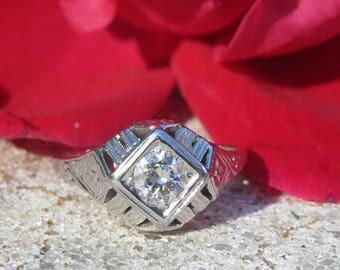 14K Edwardian Deco .40ct Diamond Ring