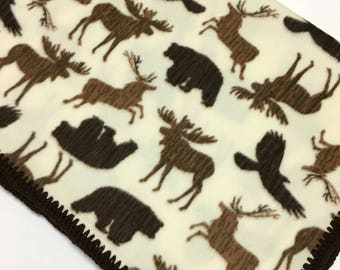 Baby Toddler Blanket Northwoods Woodland Animals Fleece with Crochet Edges