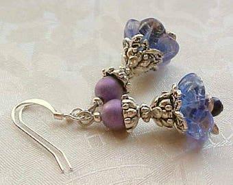 Ultra Violet Earrings Ultraviolet Purple Earrings Trumpet Flower Drop Earrings Floral Easter Earrings Czech Bead Earrings Mothers Day Gift
