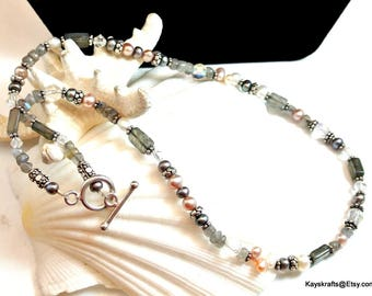 Gray White and Silver Bead Necklace Vintage Bead Necklace 16 Inch Choker Small Bead Necklace