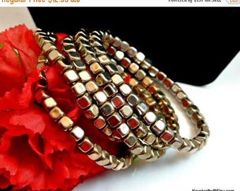 July 4th Sale 5 Square Silver Toned Bead Bangle Bracelets Vintage Silver Stretch Bangles Costume Jewelry
