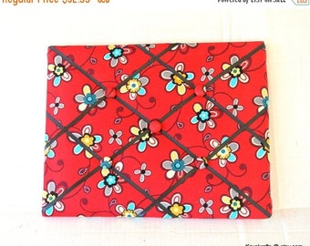 Eclipse Sale Southwestern Flowers Red Memory Board French Memo Board, Fabric Ribbon Pin Board,  Christmas Gift, Gift For Her