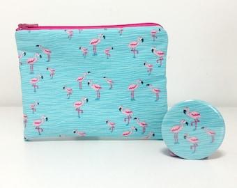 Flamingo Coin Purse and Pocket Mirror Set