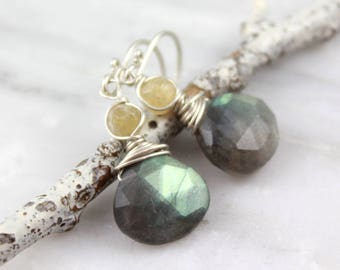 Citrine and Labradorite Silver Earrings