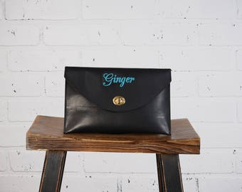 Personalized Monogrammed Leather Fully Lined Bridal Bridesmaid's Envelope Clutch purse wedding gift for Ladies Woman Mom Black-Brown-White