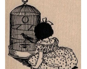 Girl With Bird Cage    rubber stamp stamps   number 20079 wood mounted, unmounted or cling stamp