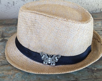 Silver Bling Butterfly Adult Fedora Straw Hat