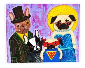 Pug Dog Lover Art Gift, Funny Family Gift, French Bulldog Wall Art, Dog Lover Gifts For Women, Bohemian Mom Gift, Boston Terrier Art Gift