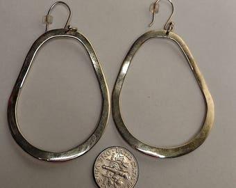 Huge Vintage Mexican Sterling Silver Front Drop Open Hoop Mod Statement Earrings Pierced